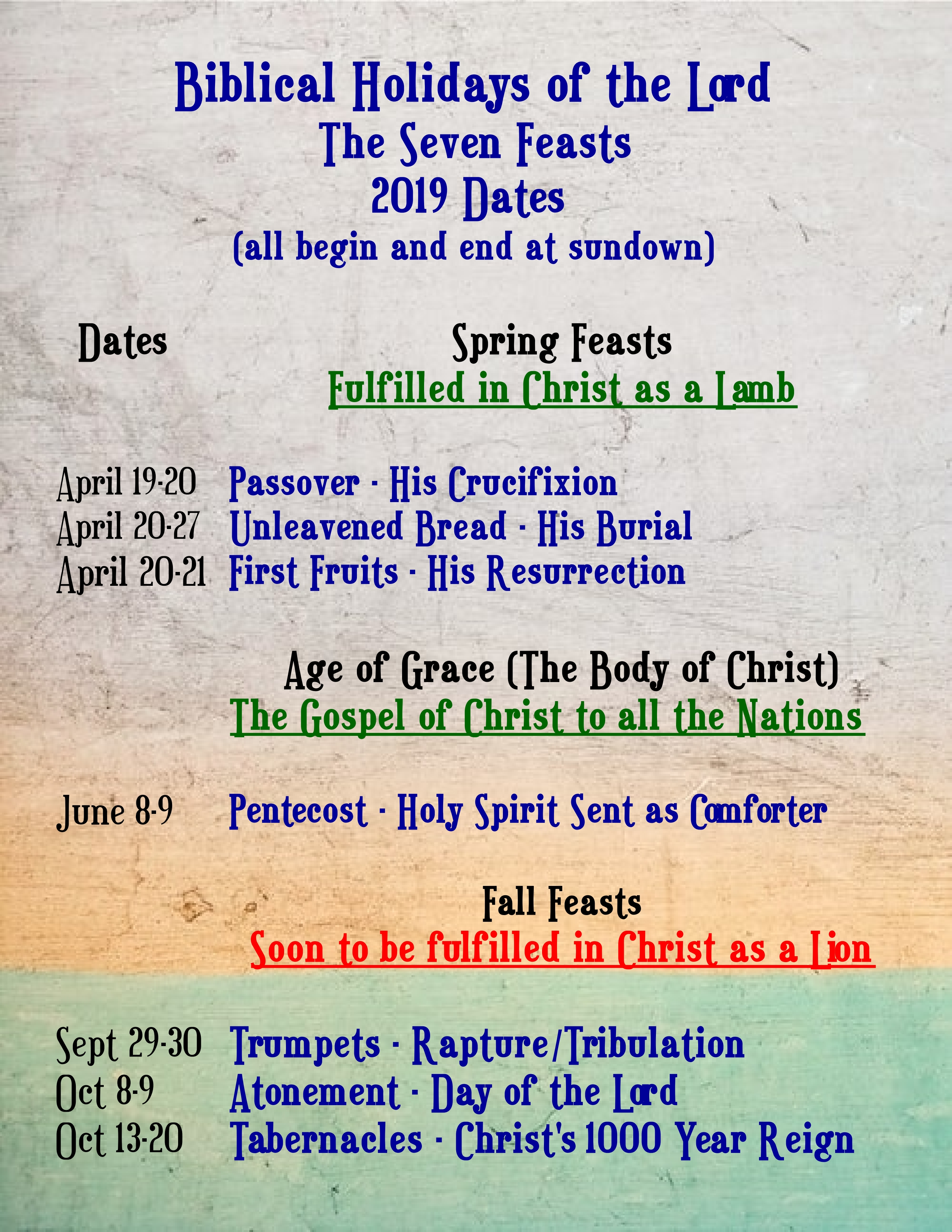 Reminder: 2019 The Lord's Holy Days | Theophilus Books